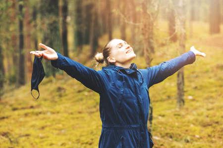 A woman enjoying nature and fresh air