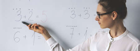 A teacher showing simple mathematical equations on whiteboard in classroom
