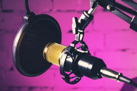 professional recording studio microphone on neon pink background