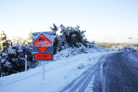 IceGrit Road Sign in New Zealand at the Road Side