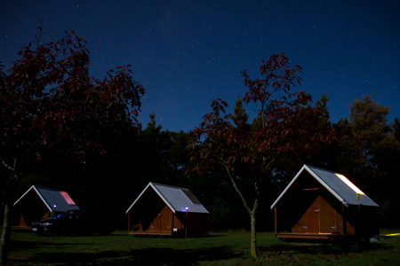 Lodge in home stay with starry sky