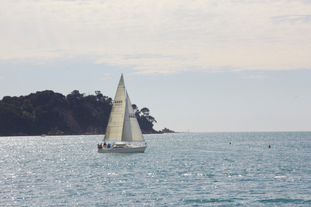 Sailboat on the sea with blue sky Stock Photo