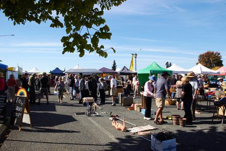 MOTUEKA, NEW ZEALAND - 04 JUNE 2017: Morning market at Motueka on Sunday