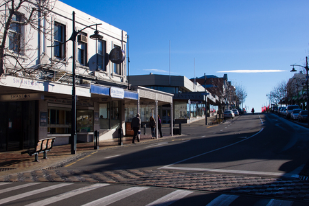 TIMARU, NEW ZEALAND, 04 JUNE 2017: Street with shop building in blue sky