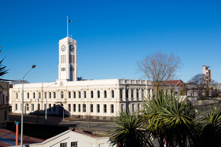 Library at Timaru with blue sky, New Zealand
