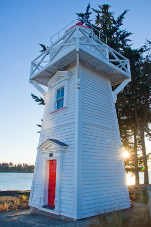 Modern light house with blue sky at Timaru, New Zealand