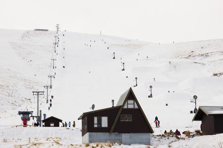 Roundhill ski area near Lake Tekapo with small hut Stock Photo