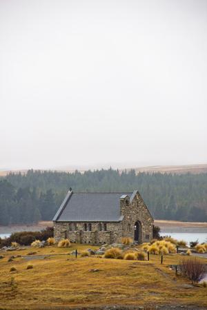 Shepherd church at Lake Tekapo in cloudy day Stock Photo