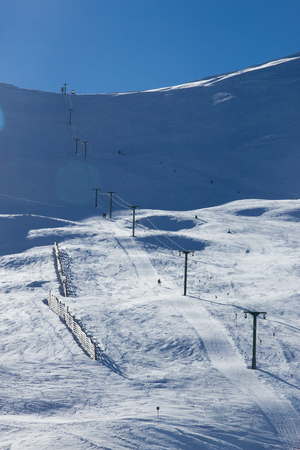 Roundhill ski area near Lake Tekapo in sunny day