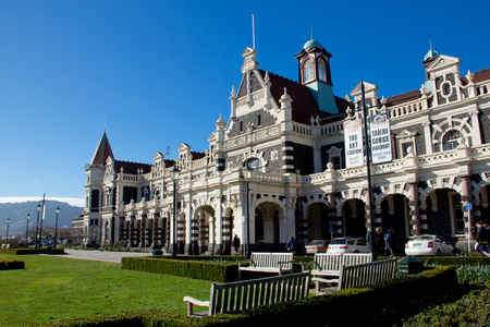 Railway station with blue sky at Dunedin, New Zealand Editorial