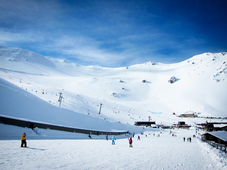 Mt Hutt, the famous ski field in New Zealand with blue sky Stock Photo