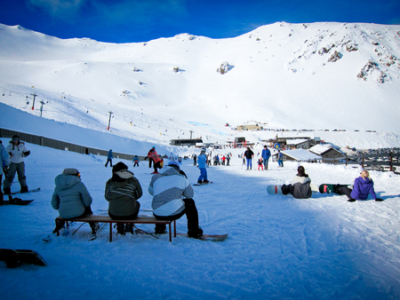 Mt Hutt, the famous ski field in New Zealand with blue sky Editorial
