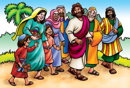 Jesus walking and talking to followers