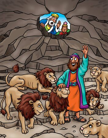 Daniel saved in lions den Stock Photo