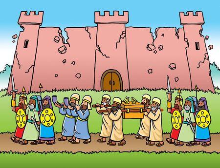 Israelites marching around Jericho