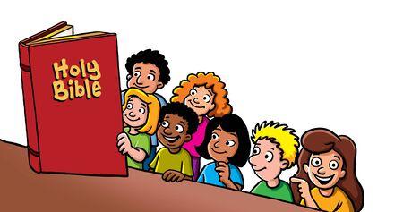 Enfants lisant la Bible Banque d'images