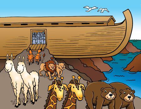 Tiere verlassen die Arche Noah