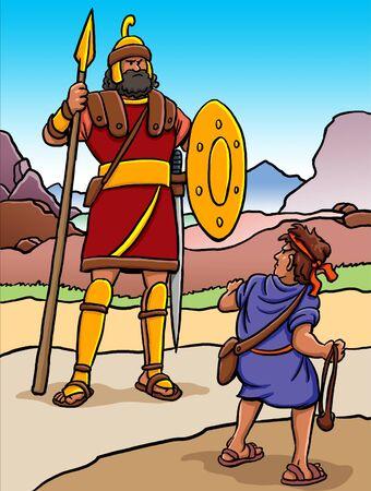 Caricatura de David y Goliat