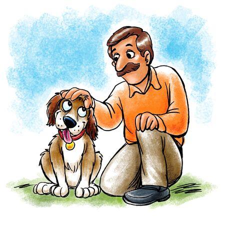 Man petting dog Stockfoto