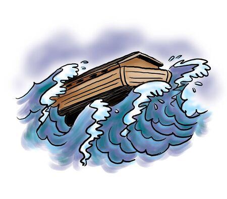 Arche Noah im stürmischen Wasser Standard-Bild