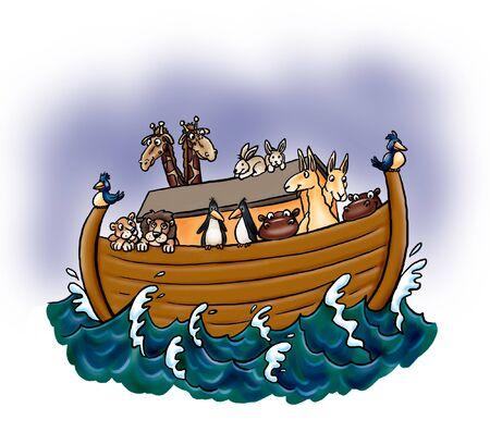 Arche Noah mit Tieren
