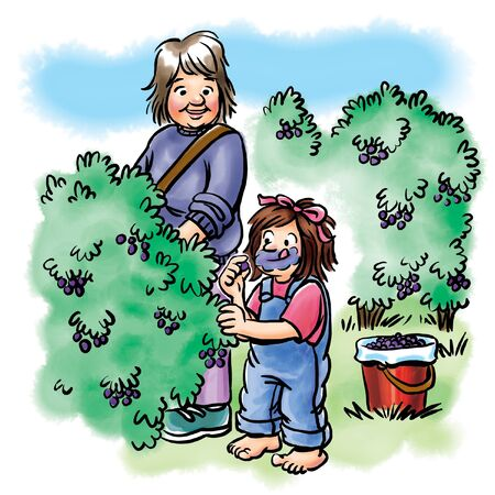 Grandmother picking berries with girl