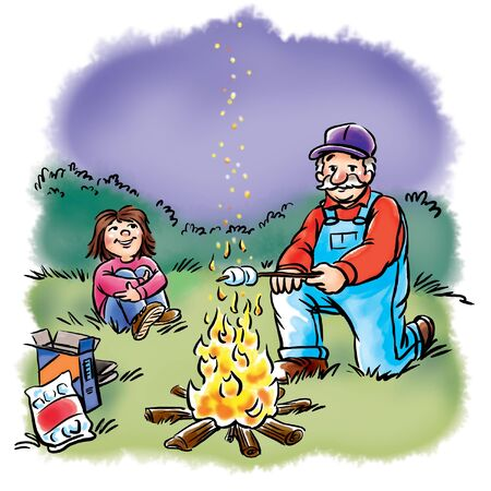 Grandfather and girl toast marshmallows
