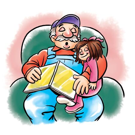 Grandfather reads bedtime story to girl Stock Photo