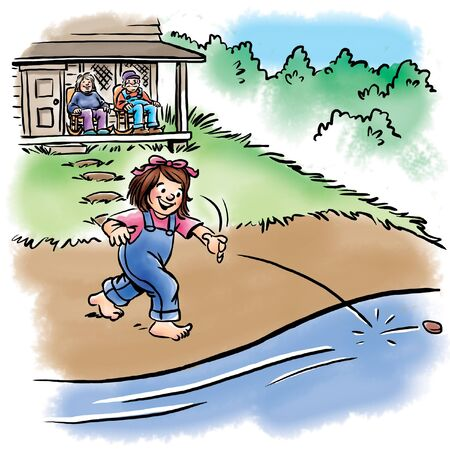 Girl skipping rock