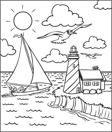Seashore Coloring Page Foto de archivo - 126584197