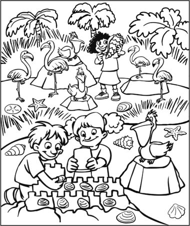 Children playing on seashore Coloring Page Banco de Imagens