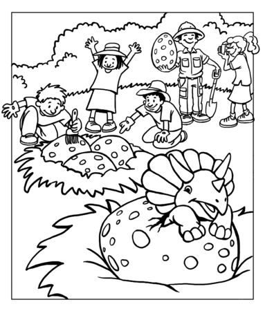 Dinosaur Coloring Page for Children Stock Photo