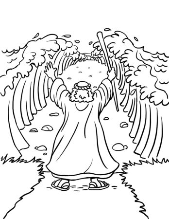 Coloring Page of Moses Parting the Red Sea Archivio Fotografico