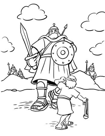 Coloring Page of David and Goliath