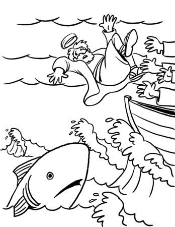 Coloring Page of Jonah and the Big Fish