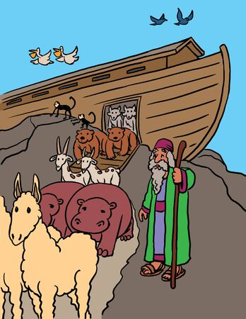 Noah with Animals at Ark Stock Photo