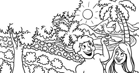 Coloring Page of Adam and Eve in Garden