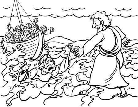 Jesus Walks on the Water with Peter Stock Photo