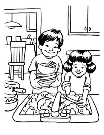 Coloring Page of Children Washing Dishes