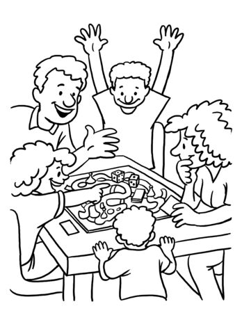 Coloring Page of Family playing board games