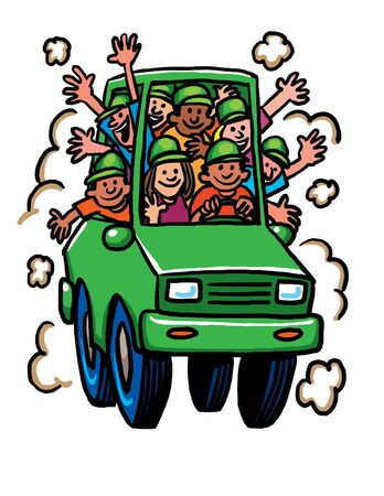 Green Cartoon car overflowing with people 스톡 콘텐츠