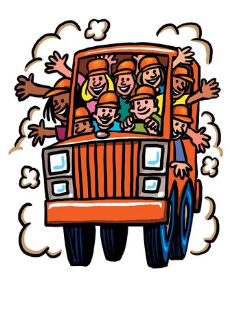 Orange Cartoon car overflowing with people