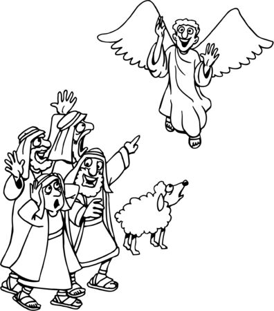 Christmas Coloring Page Angel Announces to Shepherds Illustration