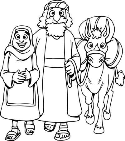 Coloring Page of Mary and Joseph