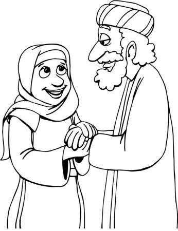 Cartoon Man and Woman holding hands Векторная Иллюстрация