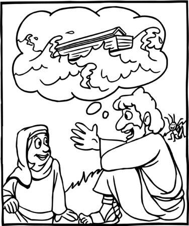 Coloring Page Jesus explaining Noah and Flood Illustration
