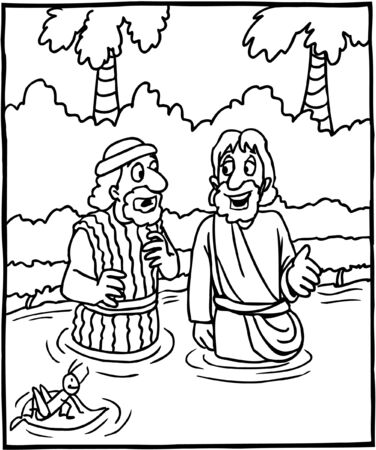 Disegno da colorare Gesù e Giovanni Battista Vettoriali
