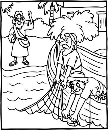 Página para colorear de Jesús diciendo Sígueme