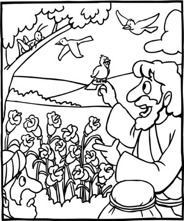 Coloring Page Jesus Birds and Flowers