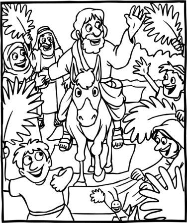 Coloring Page Jesus Triumphal Entry Vettoriali